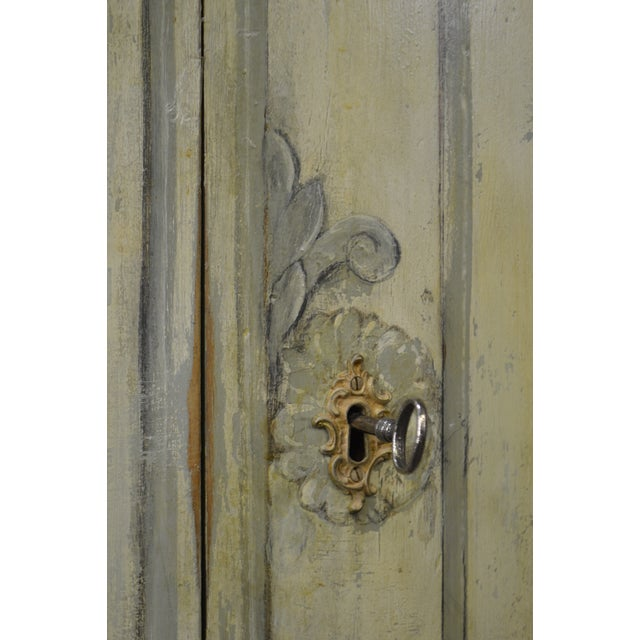 Paint Antique 18th Century French Louis XV Style Painted 2 Door Console Server For Sale - Image 7 of 10