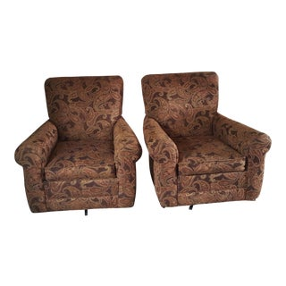Robert Reed Walter E. Smithe Upholstered Swivel Club Chairs - a Pair For Sale