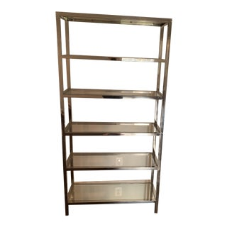 Mitchell Gold + Bob WIlliams Modern Polished Stainless Steel and Glass Bookcase For Sale