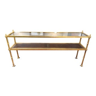 1970s Hollywood Regency Gold Gilt Console Table For Sale
