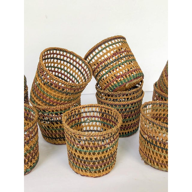 Vintage Wicker Glass Cozies Coasters, Set of 12 For Sale - Image 4 of 7