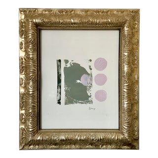 """Abstract Modern Contemporary """"Mindful"""" Acrylic Painting With Vintage Frame For Sale"""