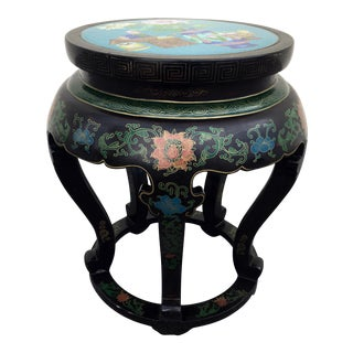 Chinese Black Lacquer and Cloisonne Stool