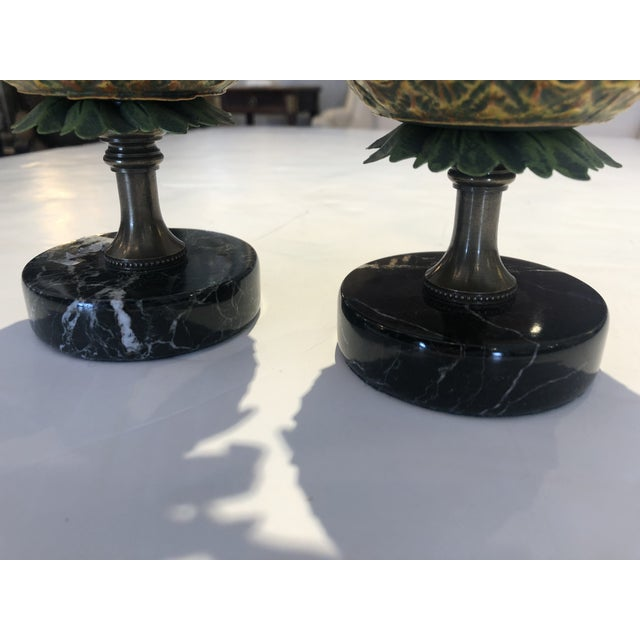 Metal Tole and Brass Pineapple Candlesticks - a Pair For Sale - Image 7 of 10
