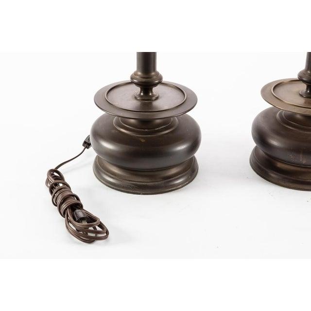 Mid Century Bronze Hispano Capstan Candlestick Lamps