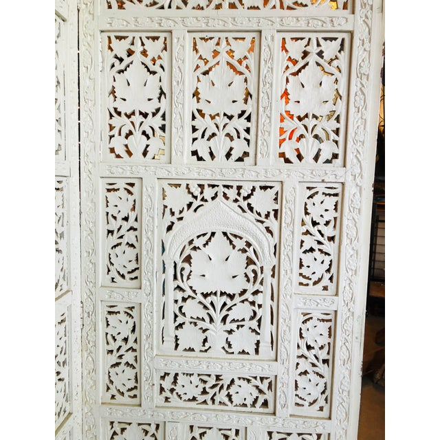 White Vintage 1960's Anglo Indian Teak Wood Room Screen Room Divider For Sale - Image 8 of 10