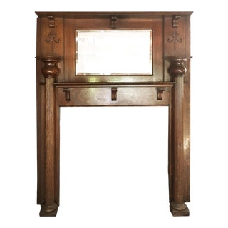 Victorian Antique Tiger Oak Mantel With Beveled Mirror For Sale