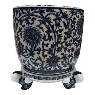 Vintage Japanese Pottery Cobalt Blue & White Porcelain Planter and Pedestal Stand For Sale