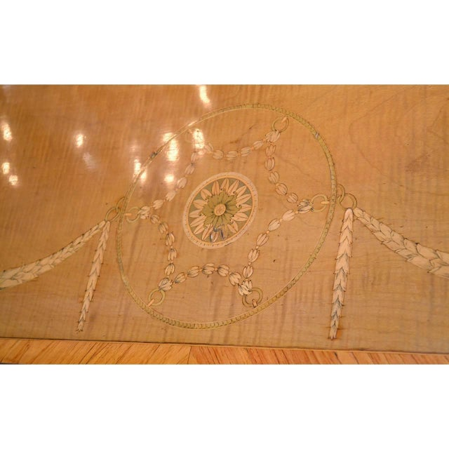 1910s Edwardian Marquetry Inlaid Console Table For Sale - Image 5 of 9