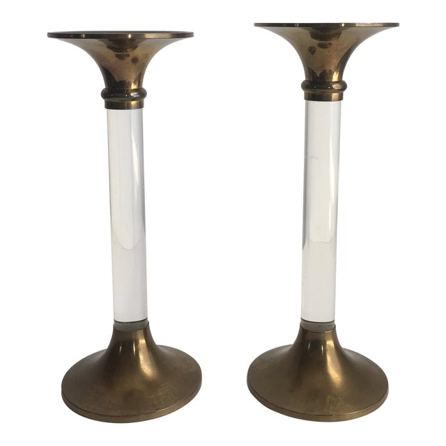 Hollywood Regency Brass & Lucite Candle Holders - a Pair For Sale