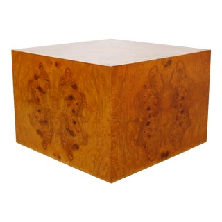 Mid Century Modern Milo Baughman Thayer Coggin Burl Wood Cube Coffee Table For Sale