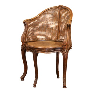 Early 20th Century French Louis XV Carved and Double-Cane Desk Armchair For Sale