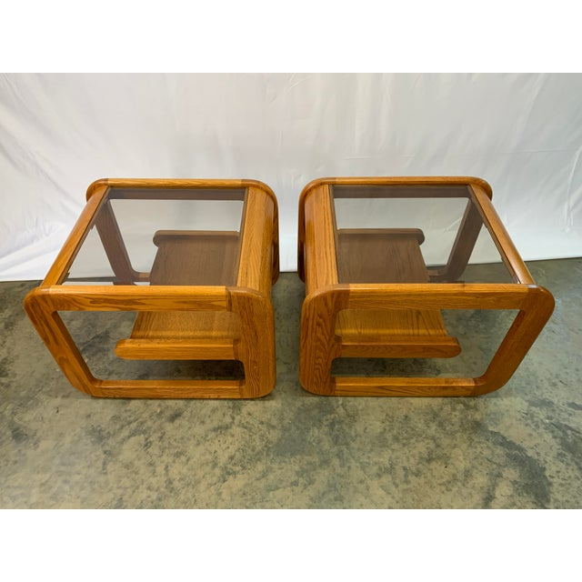 Lou Hodges 1970s Mid-Century Modern Lou Hodges Oak and Smoked Glass End Tables -- a Pair For Sale - Image 4 of 10