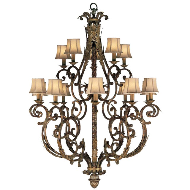 Fine Art Lamps Stile Bellagio Tortoised Crackle Finish 15-Light Chandelier - Image 1 of 5