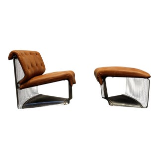 Verner Panton for Fritz Hansen Pantonova Leather Lounge Chair and Ottoman - a Pair For Sale