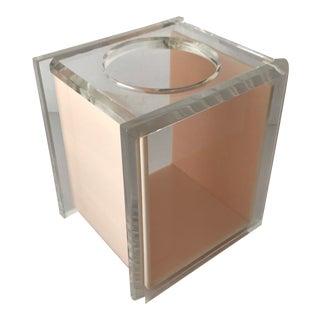Vintage Mid-Century Modern Lucite Acrylic Peach Tissue Box Holder For Sale