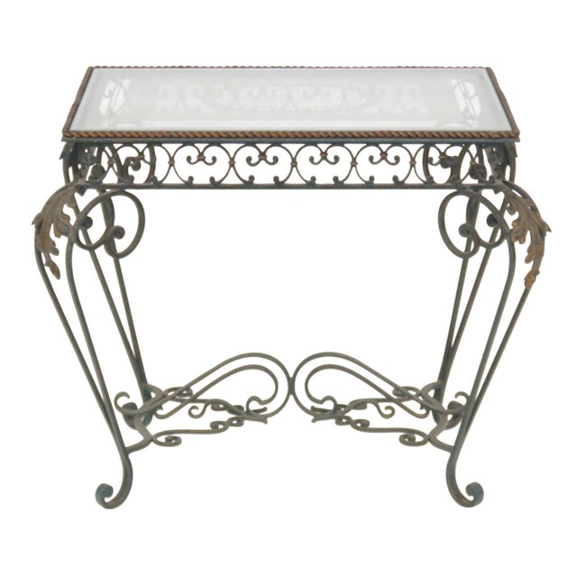Iron & Etched Glasstop Side Table - Image 1 of 5