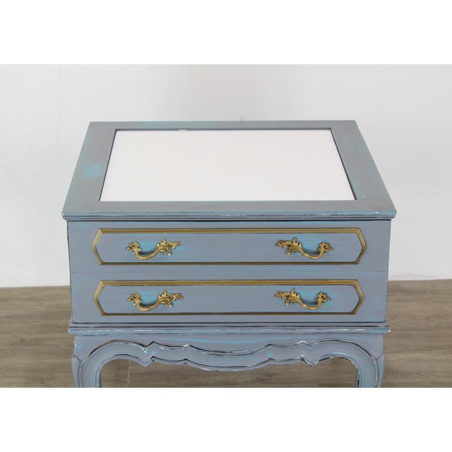 Metal Mid-Century French Provincial Nightstands, a Pair - Vintage Nightstands - Gray Nightstands - Shabby Chic Nightstand - Blue Nightstans For Sale - Image 7 of 9