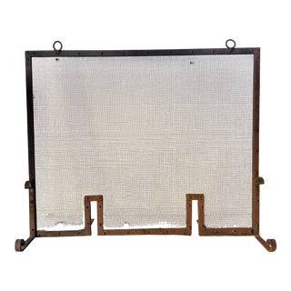 Arts & Crafts Iron Mesh Fire Screen 35x30x12 For Sale
