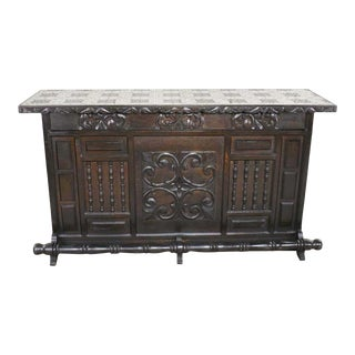 Vintage Spanish Revival Style Dry Bar With Inlaid Tile Top in Style of Artes De Mexico For Sale