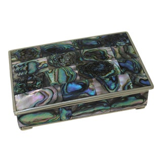 Mid-Century Modern Los Castillo Style Tessellated Abalone Box With Silver Hued Metal For Sale