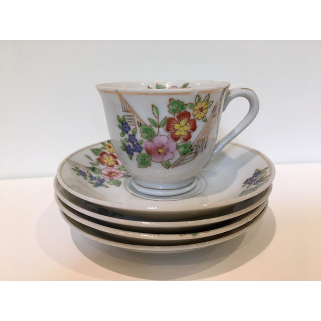 Japanese Tea Cup and Saucers - 5 Piece Set For Sale - Image 9 of 9