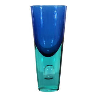 Large Murano Blue Turquoise Sommerso Bubble Vase Style Antonio Da Ros for Cenedese For Sale