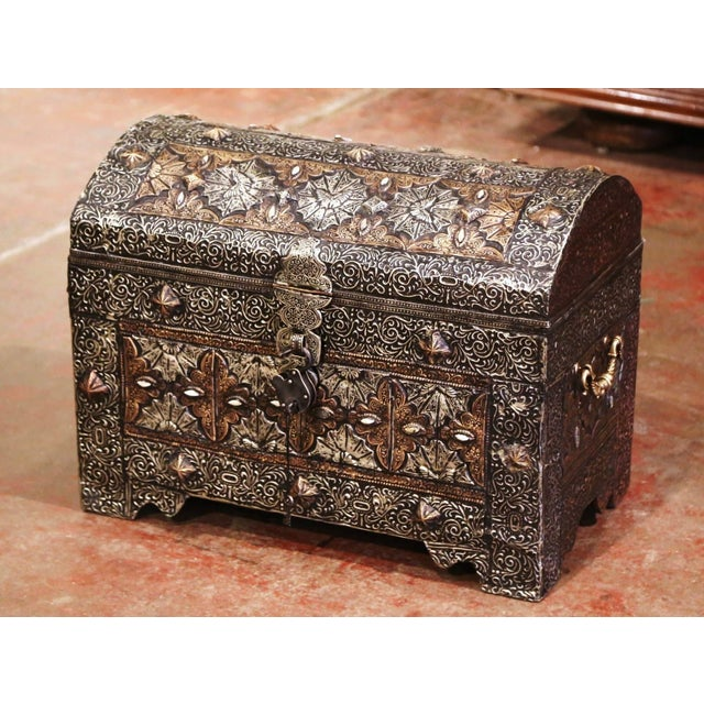 18th Century Spanish Gothic Repousse Silver and Gilt Copper Bombe Treasure Chest For Sale - Image 13 of 13