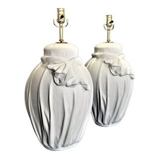 Extra- Large Vintage White Solid Plaster Drapery Lamps in the Style of John Dickinson - a Pair - Mid Century Modern Palm Beach Boho Chic Serge Roche For Sale