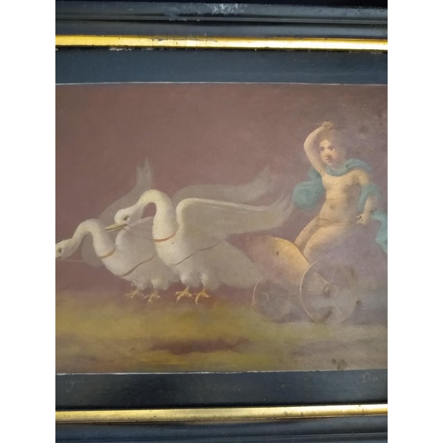 Italian Late 19th Century Antique Goose Cart and Putti Child Italian Oil Painting For Sale - Image 3 of 10