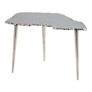 Kenneth Ludwig Chicago Aluminum Wood Slice Nickel Side Table For Sale