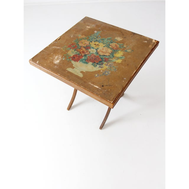 Vintage Floral Folding Table For Sale - Image 6 of 10