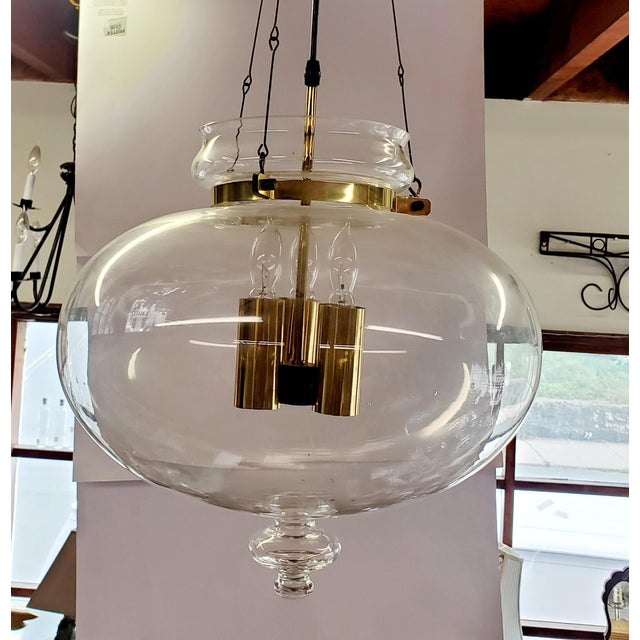 1960s Vintage Glass Globe Hanging Light Fixture For Sale - Image 9 of 13
