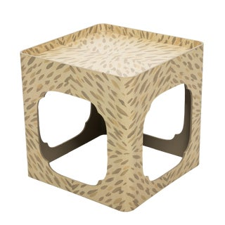 Handpainted Tortoise Square Side Table by Hollyhock For Sale