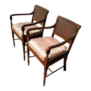 Edwardian Satinwood Painted Cane Seat Open Armchairs - a Pair For Sale