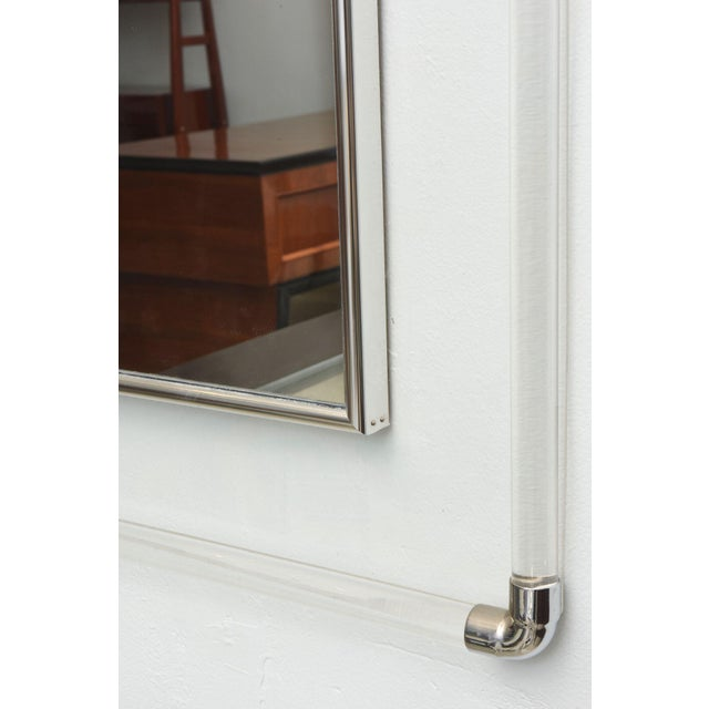 Large American Modern Lucite and Polished Chrome Mirror by Charles Hollis Jones For Sale In Miami - Image 6 of 7
