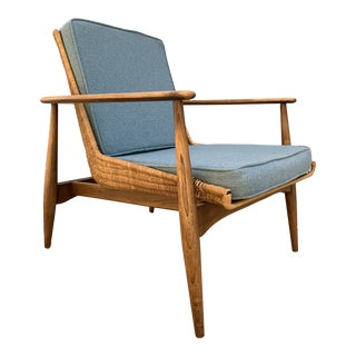 1960s Vintage Lawrence Peabody Model 1806 Wicker Lounge Chair For Sale