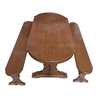 Antique Oak Monastery Dining Table & Benches - Set of 3 For Sale