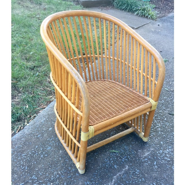 Vintage Rattan Barrel Chair - Image 4 of 11