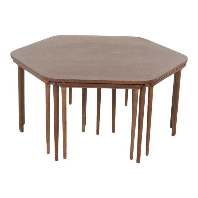 Vintage Mid-Century Danish Modern Rosewood Nesting Coffee Table - 7 Pieces For Sale