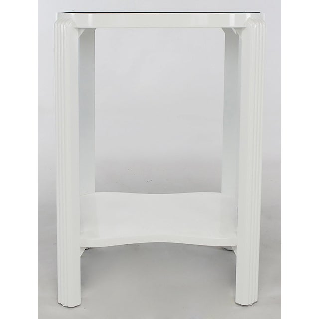 Art Deco Two-Tier White Lacquer and Blue Mirror Side Table For Sale In Chicago - Image 6 of 7