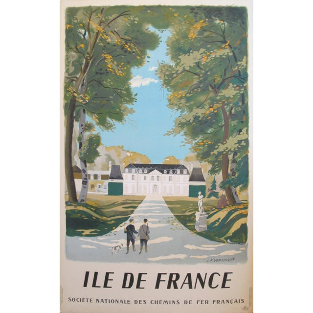 1940s Vintage 1945 French Travel Poster, Ile De France For Sale - Image 5 of 5