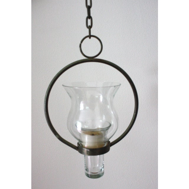 Vintage Iron & Glass Candle Pendant - Image 2 of 4