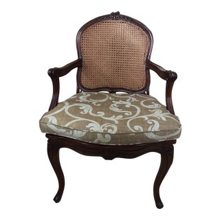 Antique Louis XV French Cane Pull Up Arm Chair For Sale