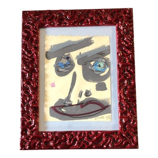 Original Contemporary Robert Cooke Abstract Face Painting Red Enamel Frame For Sale