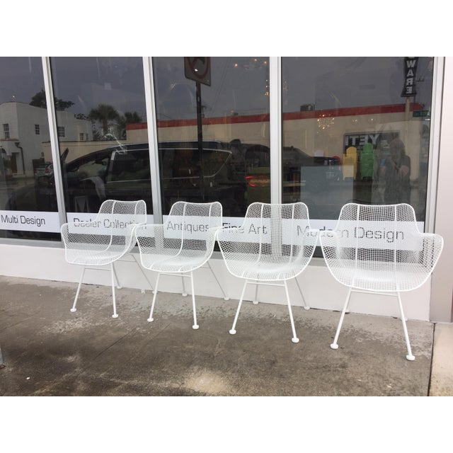 1950s Woodard Sculptura Patio Dining Table and Chairs Set For Sale - Image 5 of 13