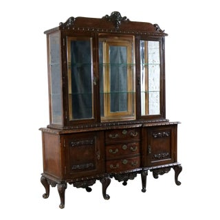 Louis XV Style Two Piece Vitrine or China Cabinet