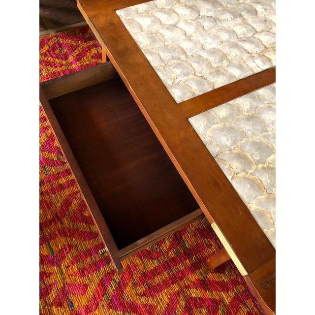 Mid-Century Hollywood Regency Teak and Mother of Pearl Square Coffee Table For Sale - Image 4 of 11