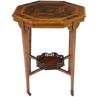 1900s Victorian Inlaid Walnut Octagon Side Accent End Table For Sale