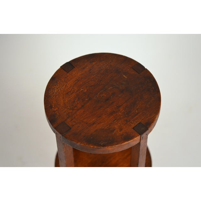 1910s Slender American Arts & Crafts Oak Sellette Side Table For Sale - Image 5 of 7